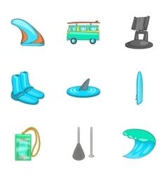Swimming on surf icons set cartoon style vector