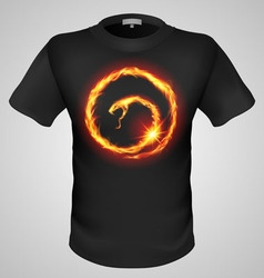 t shirts Black Fire Print man 05 vector image