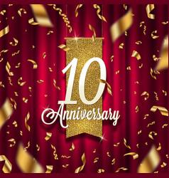 ten years anniversary golden signboard vector image