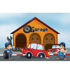 Two adorable boys in front of the garage vector