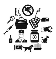 veterinary icons set simple style vector image