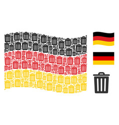 Waving germany flag pattern of trash bin icons vector