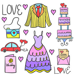 wedding element style in doodle collection vector image