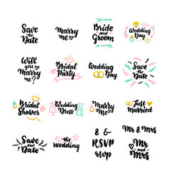 wedding hand drawn quotes vector image