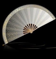 white golden fan vector image