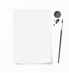 White paper document whit brush pen inkwell vector