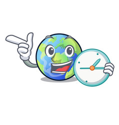 with clock earth above the sky the mascot vector image