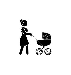 woman with a baby stroller icon mother icon vector image