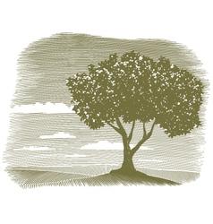Woodcut tree landscape vignette vector