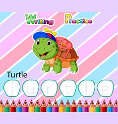 Worksheet writing practice alphabet t for turtle vector