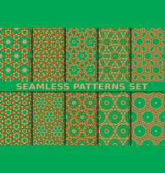 beautiful colorful seamless patterns set vector image