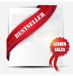 bestseller red banner and label set vector image