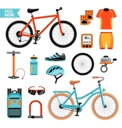 Bike And Cycling Accessories Set vector image vector image