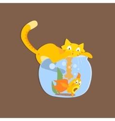Cat catshing fish in aquarium image vector