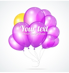 Color glossy violet balloons template for text vector image vector image