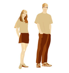 girl and boy in in clothes for promotion vector image