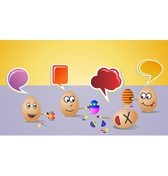 Happy social painters Easter eggs vector image