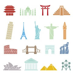 World landmarks icons abstract set vector image vector image
