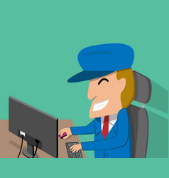 a man is happy while using the desktop computer vector image