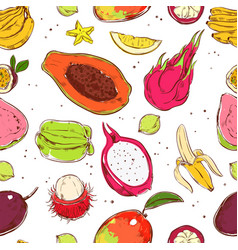Sketch colored exotic fruits seamless pattern vector