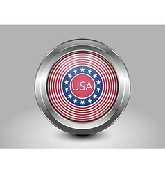 Stars and stripes flag metal and glass round icon vector