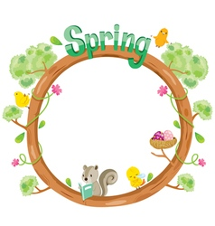 Tree With Animal On Circle Frame vector image