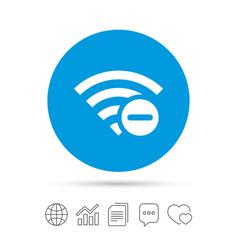 Wifi minus sign wi-fi symbol wireless vector