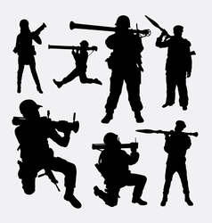 Bazooka weapon soldier silhouette vector