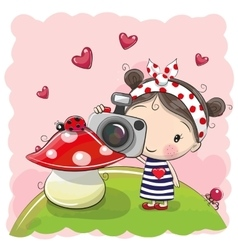 Cute cartoon Girl with a camera vector image vector image
