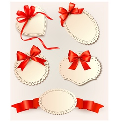 Set of beautiful tags with red gift bows with vector image