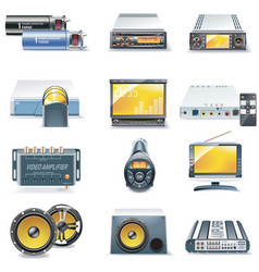 car stereo icons vector image vector image