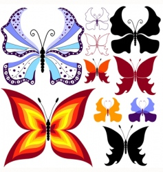 collection abstract butterflies vector image