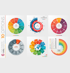 collection of 6 circle chart templates 10 vector image vector image