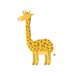 cute cartoon orange long neck smiling giraffe vector image vector image