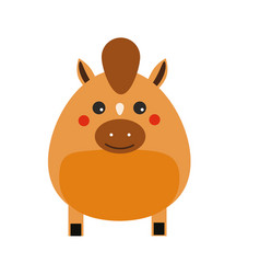 cute kawaii horse character children style vector image