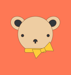 flat icon on background kids toy bear vector image