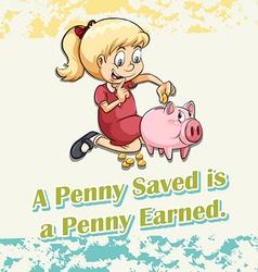 Girl putting money in piggy vector image