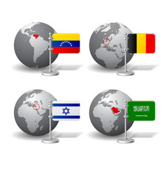 gray earth globes with designation of venezuela vector image vector image