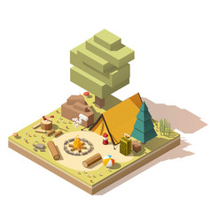isometric low poly campsite vector image