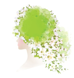 spring woman floral vector image vector image