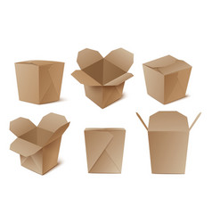 a set realistic cardboard boxes vector image