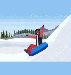 african american woman sledding on snow rubber vector image