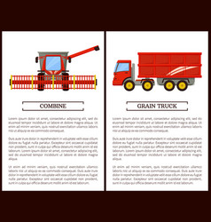 agricultural machinery set cartoon banner vector image