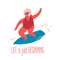 An old woman rides surfing board vector