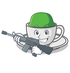 army coffee character cartoon style vector image