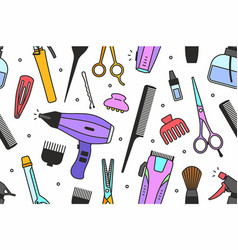 Barber shop tools pattern vector