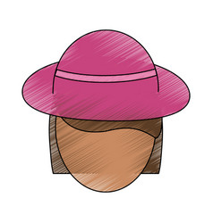 beautiful woman hat vector image