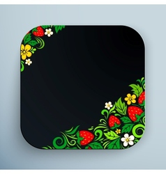 Black rounded square icon with floral ornament vector