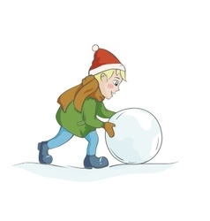 Boy rolling a snowball vector