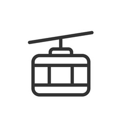 Cable car front view outline style icon vector